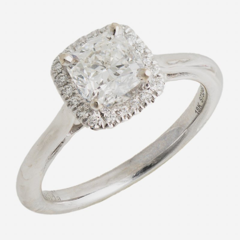 King's Bridal 14kt Wh Cushion Cut Engagement Ring 1.01ct w/Halo