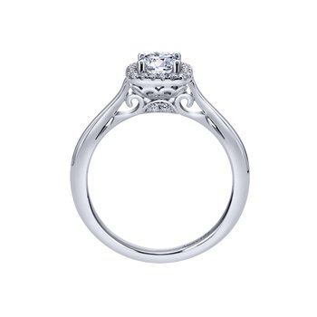 14kt Wh Cushion Cut Diamond Engagement Ring 1.01ct w/Halo