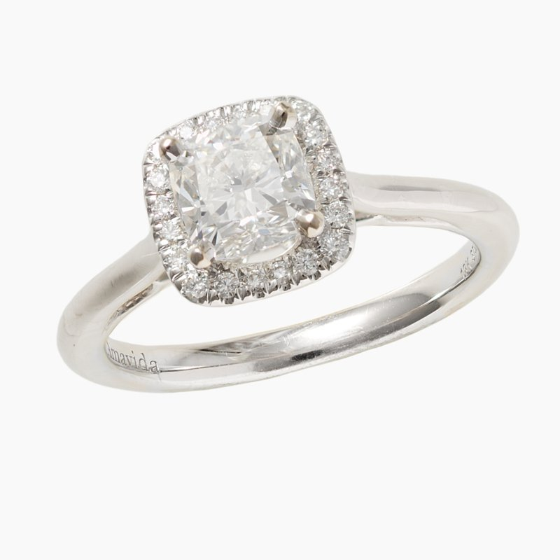 King's Bridal 14kt Wh Cushion Cut Diamond Engagement Ring 1.01ct w/Halo