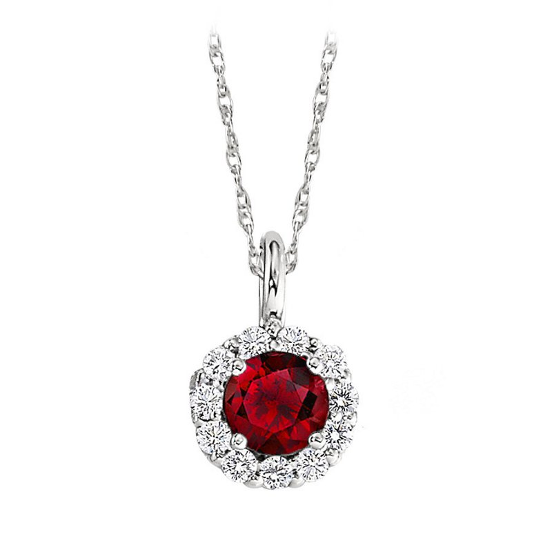 "King's Ruby and Diamond Pendant 6mm 18"" Chain"