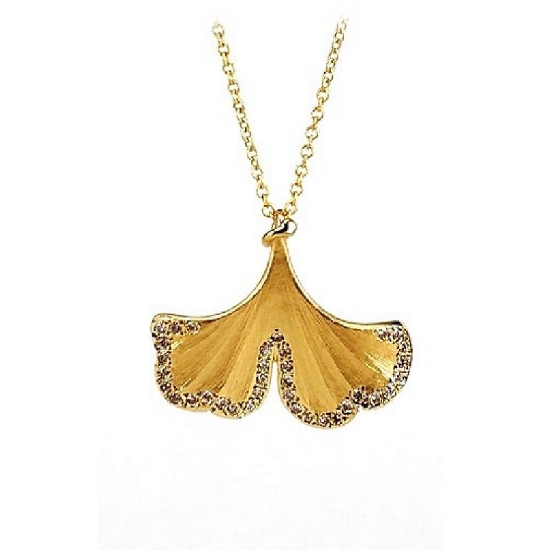 King's Gold Ginko Leaf Pendant with Diamonds