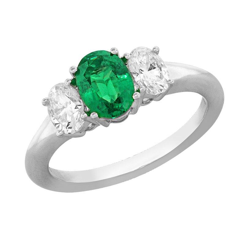 King's Platinum Emerald & Diamond Three Stone Ring