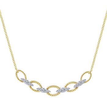 14kt Yel Gold Chain Link Necklace w/Diamond Accents