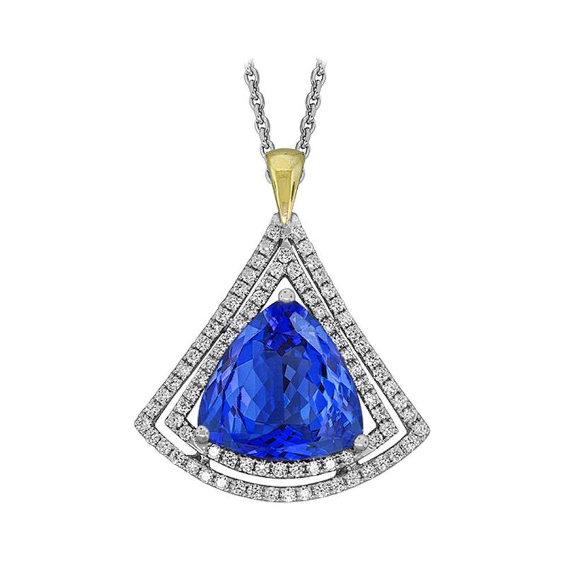 King's 18kt Trillion Tanzanite and Diamond Pendant
