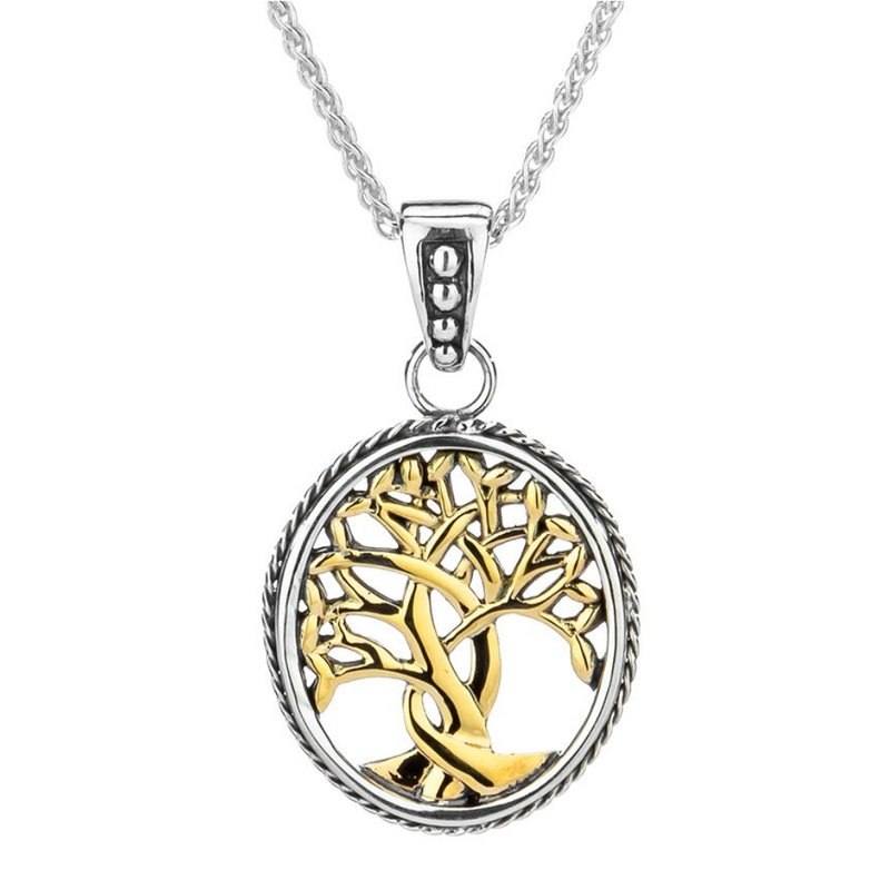 """Keith Jack """"Tree of Life"""" Sterling & 10K Small Pendant"""