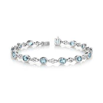 Oval Aquamarine Bezel Set Bracelet
