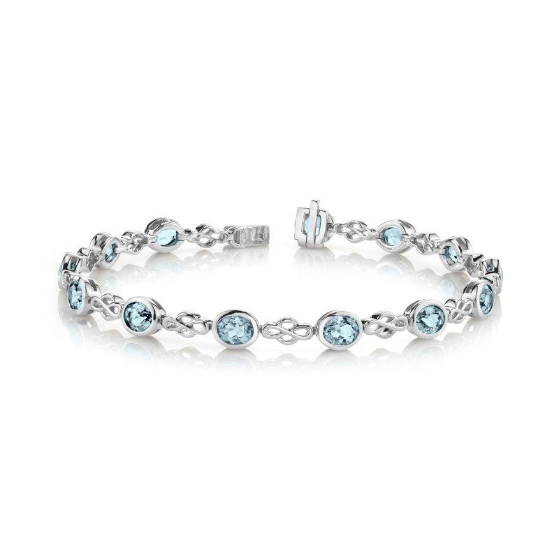 King's Oval Aquamarine Bezel Set Bracelet
