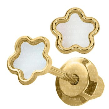 14kt Yel Flower Earrings w/Mother of Pearl