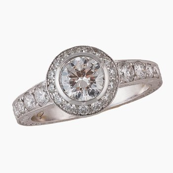 Diamond Halo Engagement Ring 18kw  1.46tw