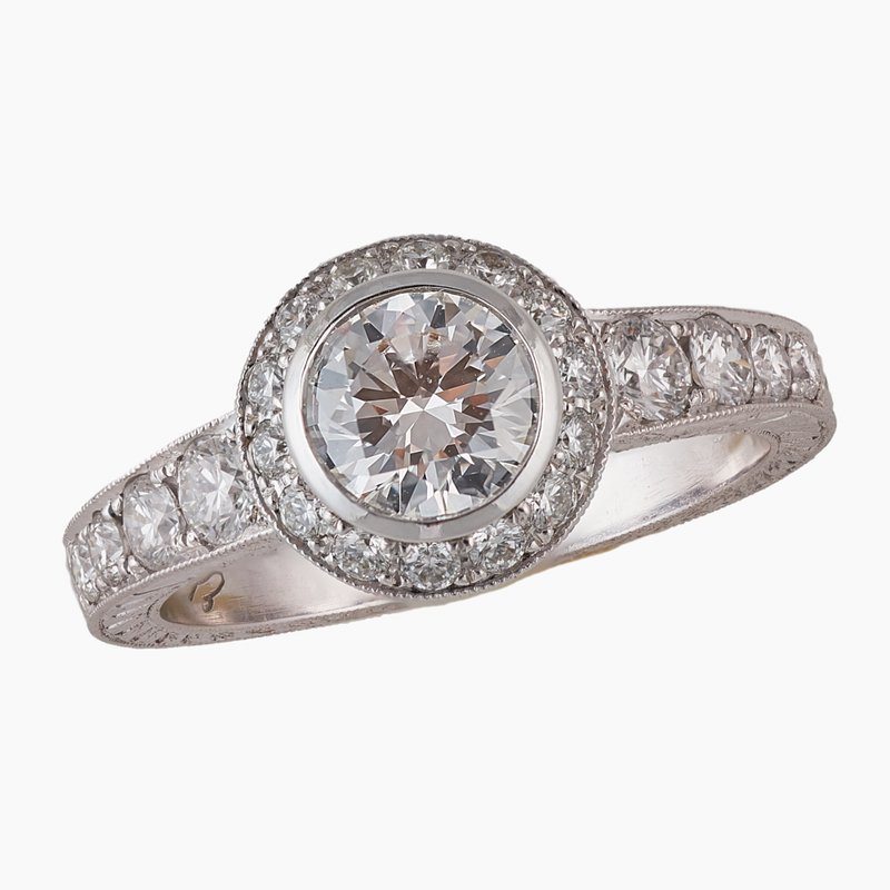 King's Bridal Diamond Halo Engagement Ring 18kw  1.46tw
