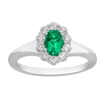 18kt Wht Gold Oval Emerald & Diamond Ring