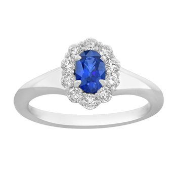 18kt Wht Gold Oval Sapphire & Diamond Ring