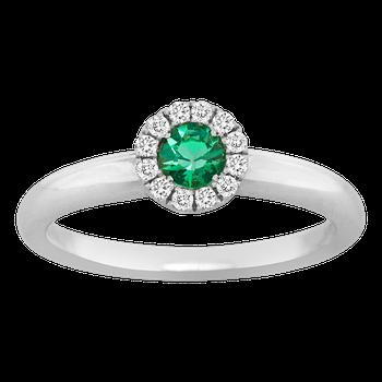Emerald and Diamond Halo Ring