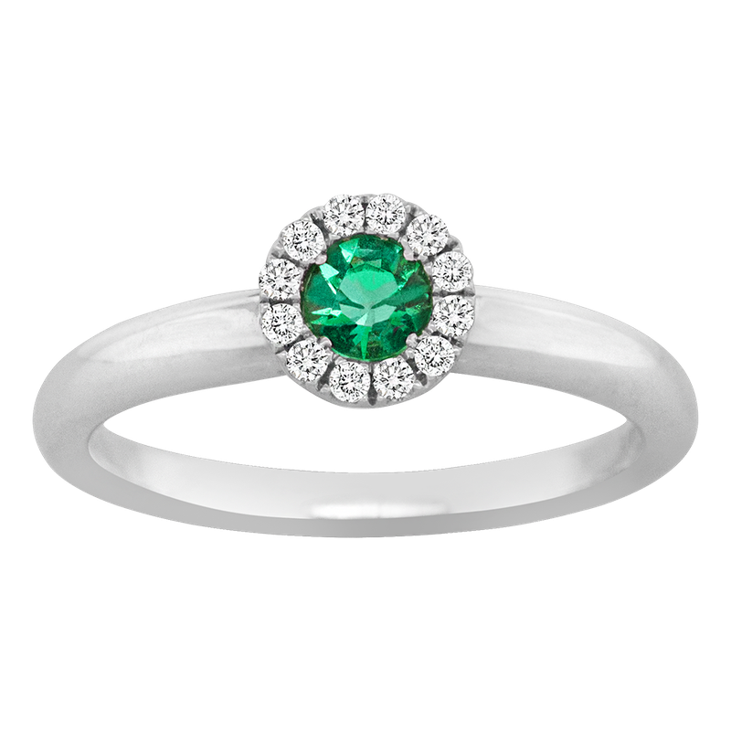 King's Emerald and Diamond Halo Ring
