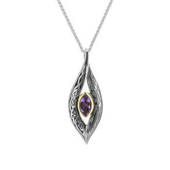 """""""Eternity Knot"""" Sterling & 10kt Pendant with Amethyst"""