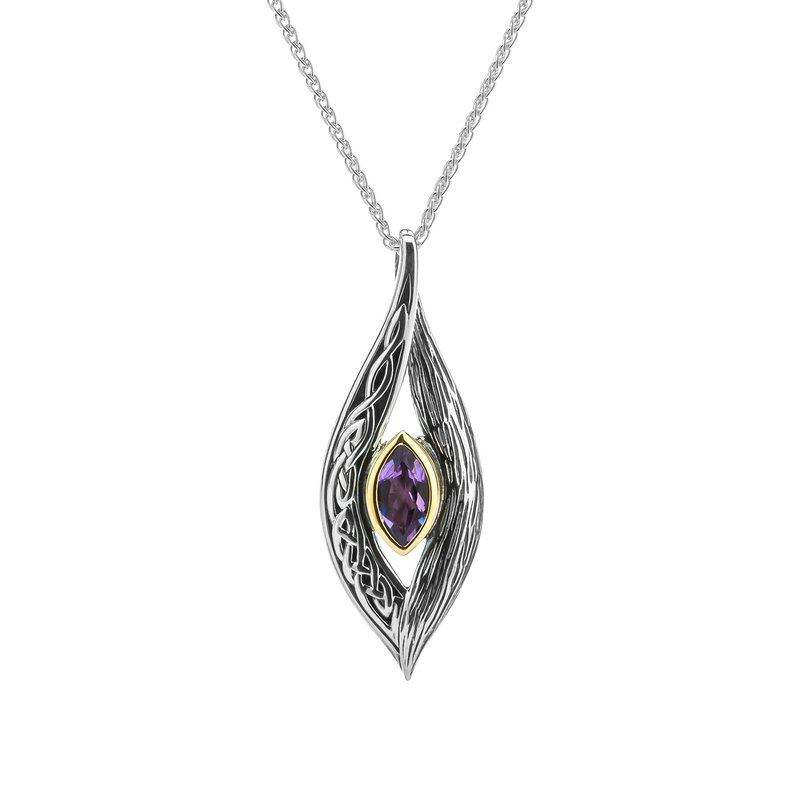 "Keith Jack ""Eternity Knot"" Sterling & 10kt Pendant with Amethyst"