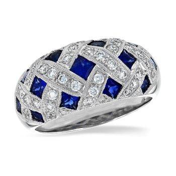 Sapphire & Diamond Lattice Band