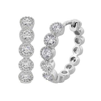 18kt Wh Gold Bezel Set Diamond Huggies Hoop Earrings