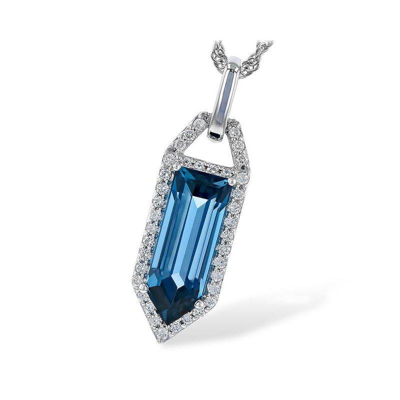 King's London BlueTopaz and Diamond Pendant