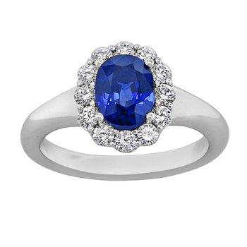"Plat Oval Sapphire & Diamond ""Gemstone Quality"" Ring 2.50ct Sapphire"