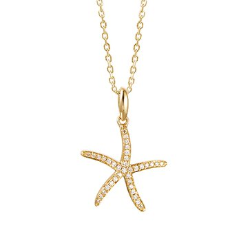 "14kt Yel Diamond Starfish Pendant .20tw 18"" Chain"