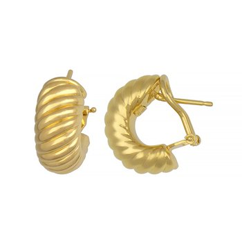 Gold Wide Hoop Earrings Ribbed Design