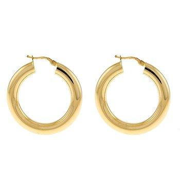 Yel Gold Round Hoop Earrings