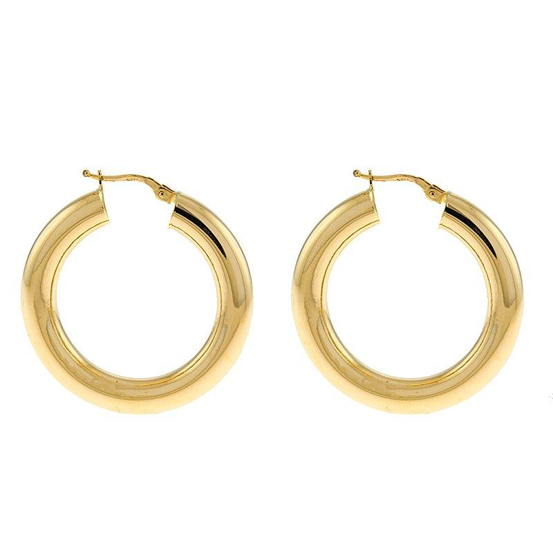 King's Yel Gold Round Hoop Earrings