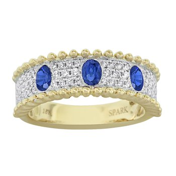 18k Yel & Wh Oval Sapphire and Diamond Wide Band
