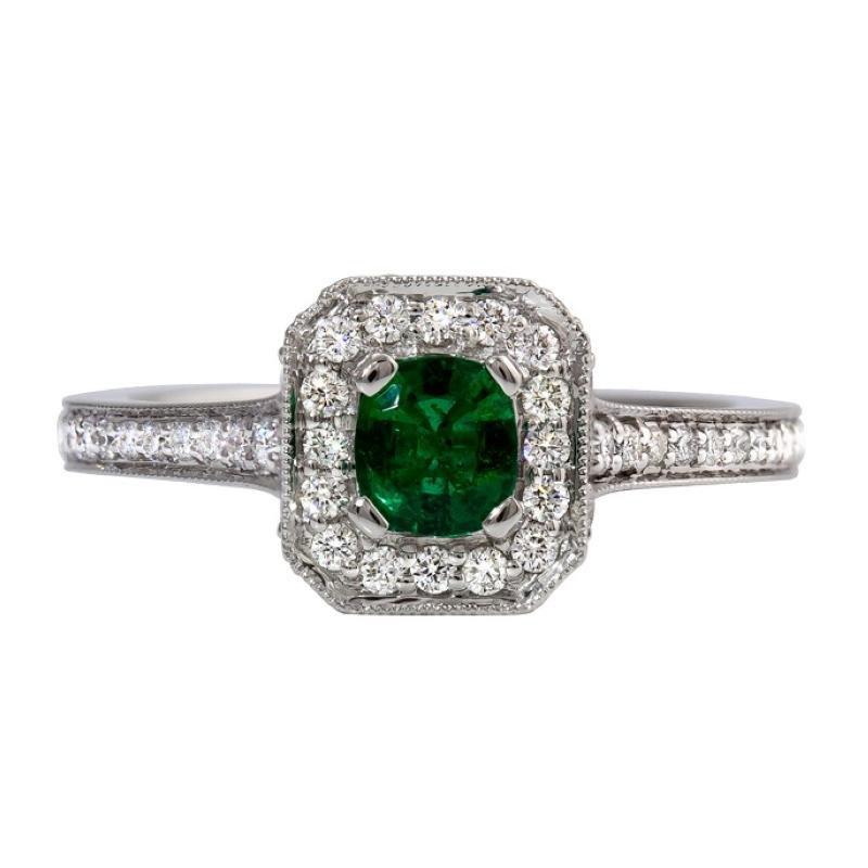King's Cushion Cut Emerald and Diamond Ring
