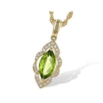 Marquise Peridot and Diamond Pendant