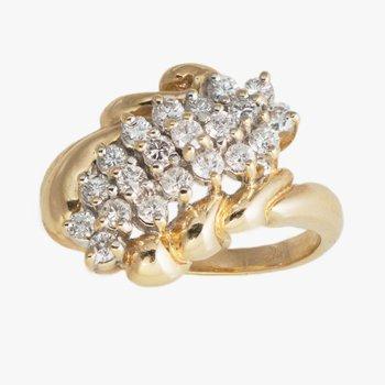 14kt Yel Diamond Cluster Ring .50tw