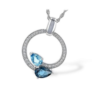 Blue Topaz and Diamond Circle Pendant