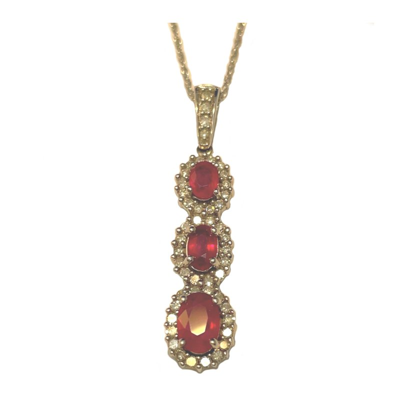King's Estate 14kt Wht Gold Ruby & Diamond Pendant