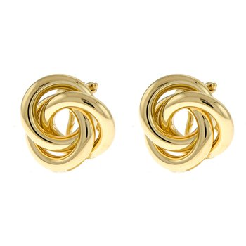 Yel Gold Tricircle Knot Earrings