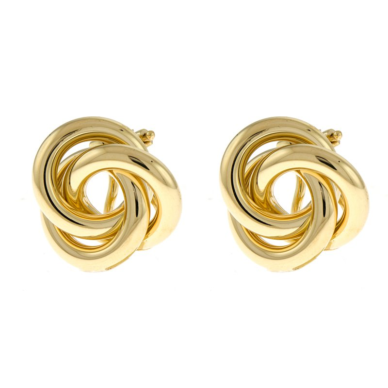 King's Yel Gold Tricircle Knot Earrings