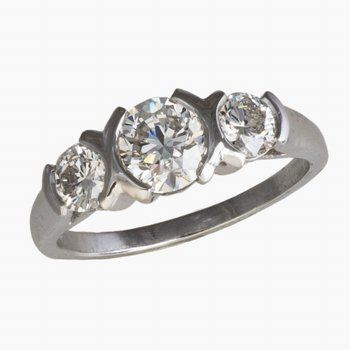Platinum Three Stone Bezel Set Diamond Ring