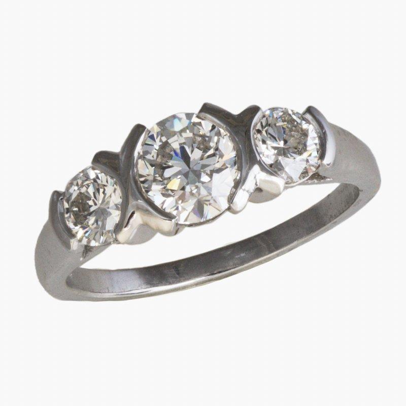 King's Bridal Platinum Three Stone Bezel Set Diamond Ring