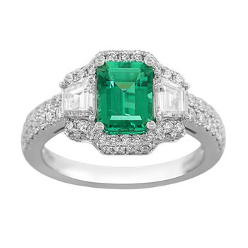 Plat Emerald Cut Gem Quality Emerald & Diamond Ring