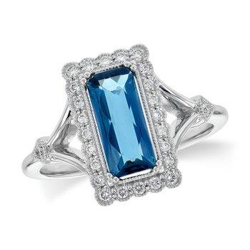 14kt Wht London Blue Topaz & Diamond Ring