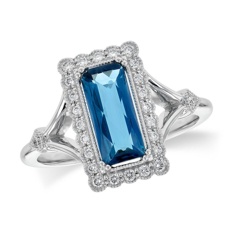 King's 14kt Wht London Blue Topaz & Diamond Ring