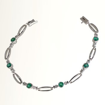 Wh Gold Emerald & Diamond Bracelet