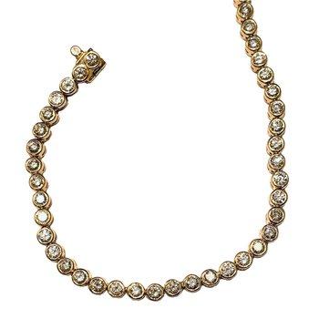 14kt Yel Gold Bezel Set Diamond Bracelet 2.00tw