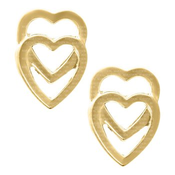 14kt Yel Double Heart Baby Earrings