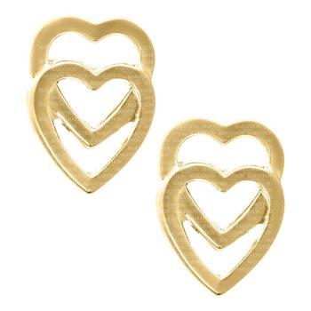 14kt Yel Double Heart Baby Earrings