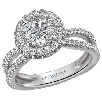 Diamond Halo Engagement Ring w/Split Shank