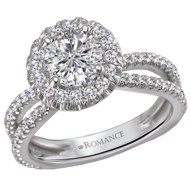 King's Bridal Diamond Halo Engagement Ring w/Split Shank