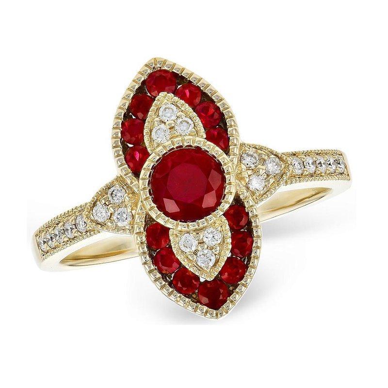 King's Ruby and Diamond Milgrain Ring
