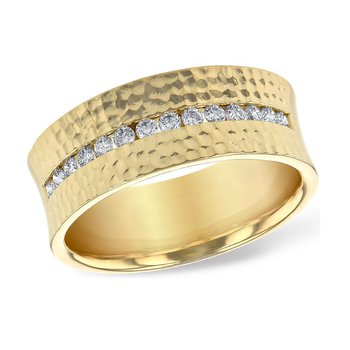 Hammered Band with Diamond Center
