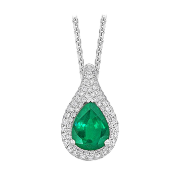 18kt PearShape Emerald & Diamond Pendant